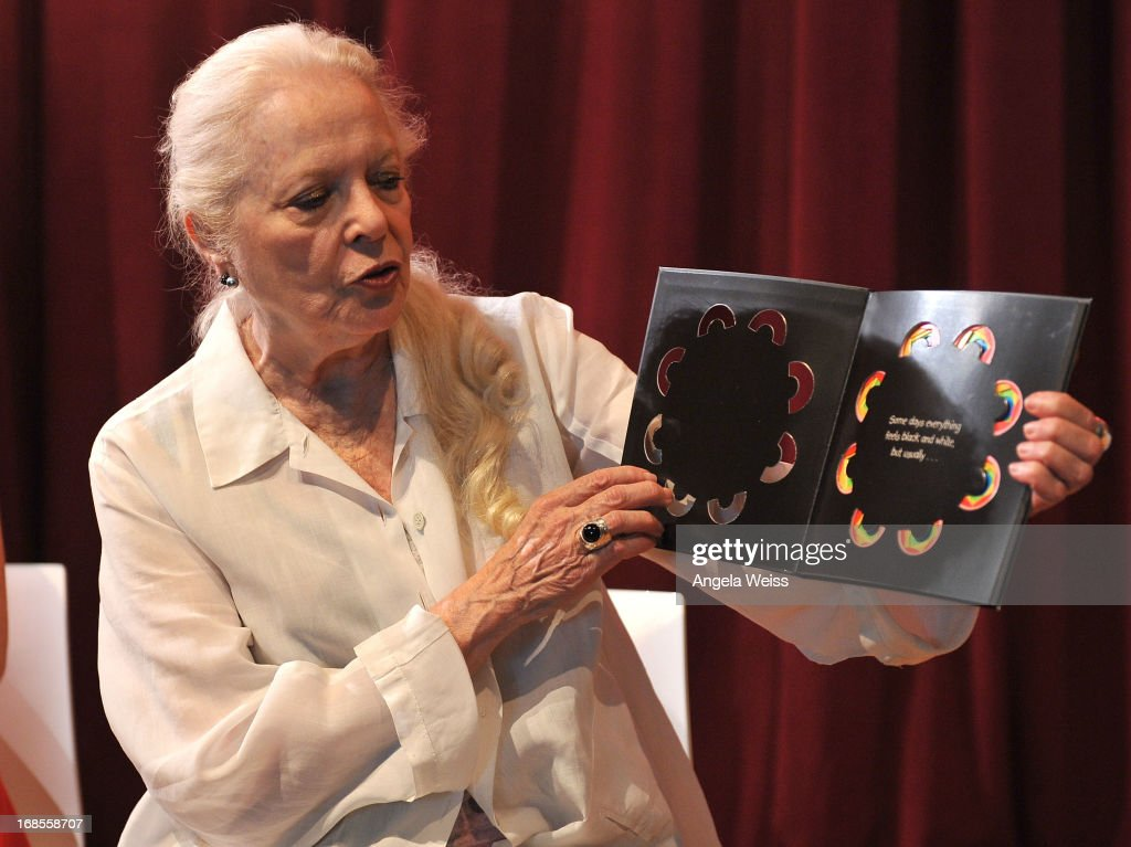 Actress <a gi-track='captionPersonalityLinkClicked' href=/galleries/search?phrase=Barbara+Bain&family=editorial&specificpeople=540059 ng-click='$event.stopPropagation()'>Barbara Bain</a> reads at the Screen Actors Guild Foundation 20 Years Of BookPALS celebration at West Hollywood City Council Chamber on May 11, 2013 in West Hollywood, California.