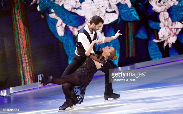 Actress Barbara De Rossi and her skating partner Simone Vaturi perform during the 'Notti Sul Ghiaccio' TV Show at RAI Studios on February 21 2015 in...
