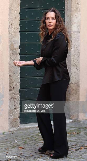 Actress Barbara De Rossi attends 'Le Tre Rose Di Eva' Mediaset Tv series photocall at Castello di Torrimpietra on April 2 2012 in Rome Italy