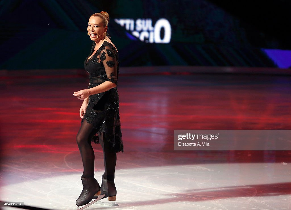 Actress Barbara De Rossi performs during the 'Notti Sul Ghiaccio' TV Show at RAI Studios on February 21 2015 in Rome Italy