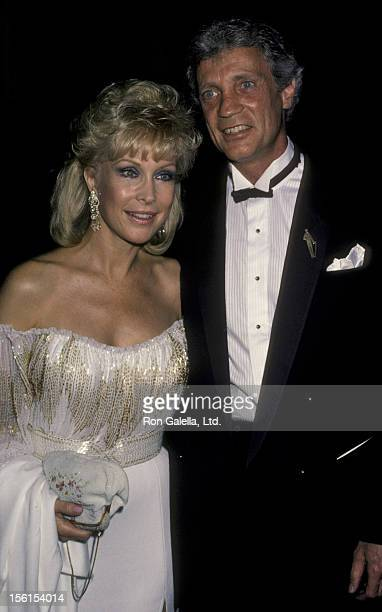 Actress Barbara Eden and Stanley Freilich attend Valentino Fashion Awards Honoring Lauren Bacall and Gregory Peck on July 3 1984 at the Century Plaza...