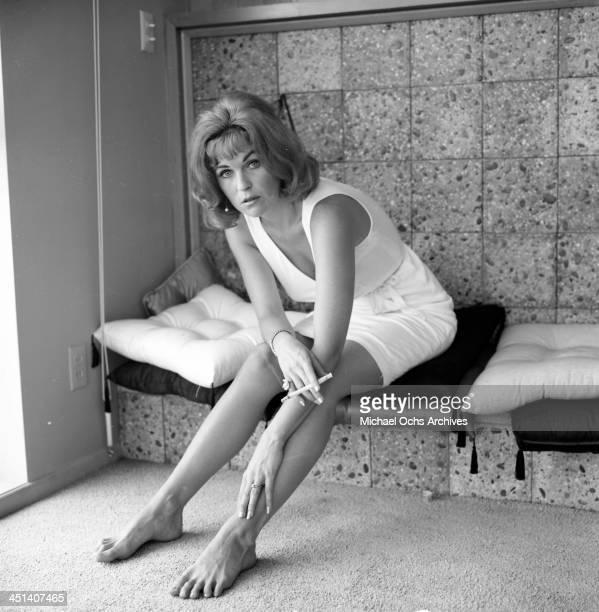 Actress Barbara Hines poses at home in Los Angeles California