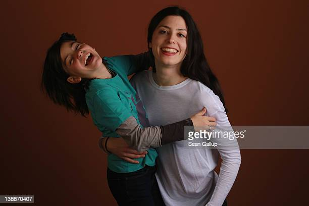 Actress Barbara Lennie and actress Magica Perez pose during a portrait session for the film 'Dictado' during the 62nd Berlinale International Film...