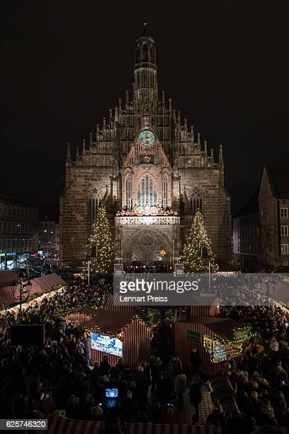 Actress Barbara Otto dressed as the 'Nuremberg Christ Child' opens the 2016 Nuremberg Christmas Market on November 25 2016 in Nuremberg Germany...