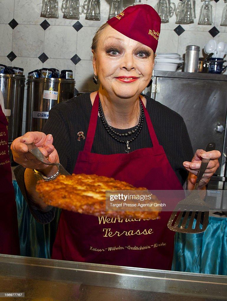 Actress Barbara Schoene attends the 'Kartoffelpuffer-Brat-Charity' at the Berlin Christmas Market on November 26, 2012 in Berlin, Germany.