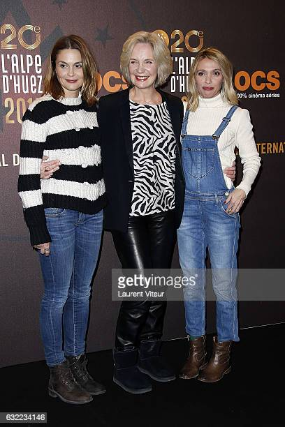 Actress Barbara Schulz MarieChristine Adam and Anne Marivin attend the 'Alibicom' photocall during the 20th l'Alpe d'Huez International Comedy Film...