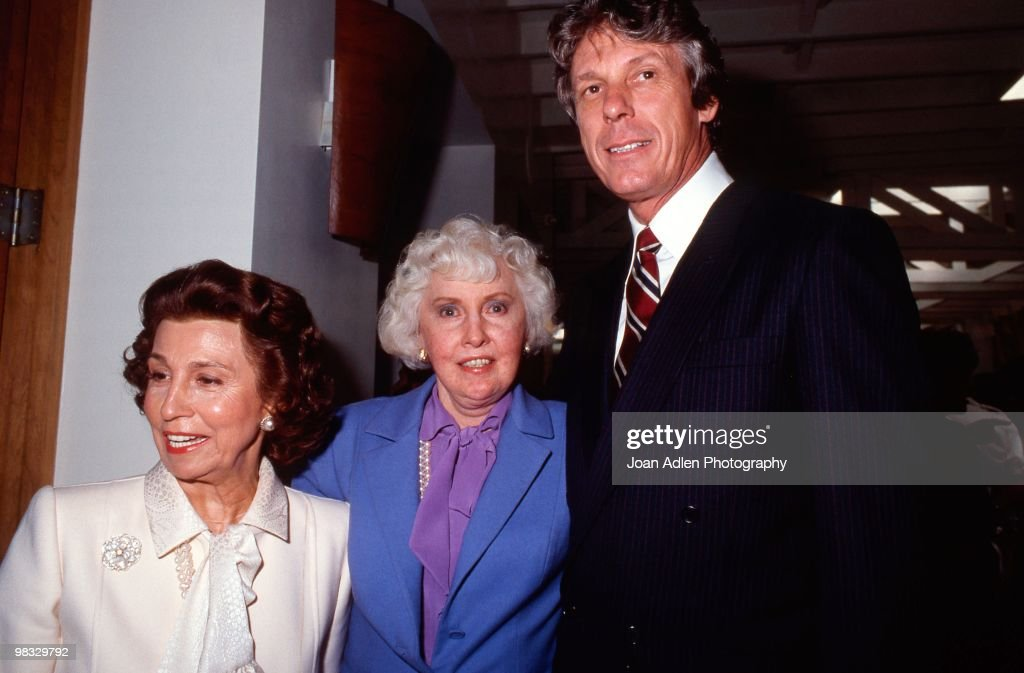 Actress <a gi-track='captionPersonalityLinkClicked' href=/galleries/search?phrase=Barbara+Stanwyck&family=editorial&specificpeople=90352 ng-click='$event.stopPropagation()'>Barbara Stanwyck</a> with designer Nolan Miller (right) attends a private showing of 'The Dynasty Collection' on Sept 19, 1987 in Los Angeles, California. The showing is to showcase some of the costumes designed by Nolan Miller, that appear on the series.