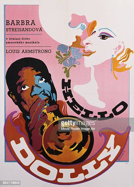 Actress Barbra Streisand and musician Louis Armstrong appear on a Czech poster by E Galova for the 1969 musical film 'Hello Dolly' 1970