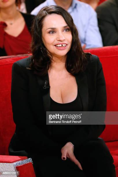 Actress Beatrice Dalle attends the 'Vivement Dimanche' French TV show Held at Pavillon Gabriel on April 23 2014 in Paris France