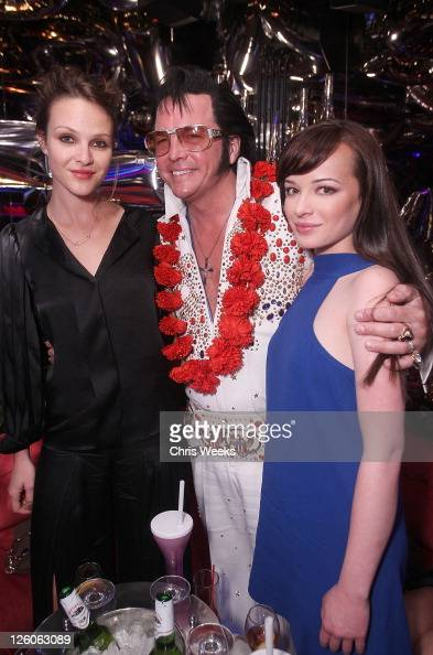 Actress Beau Garrett an Elvis impersonator and actress Ashley Rickards attend Stella McCartney Crystal's Las Vegas Store Opening Party At The...