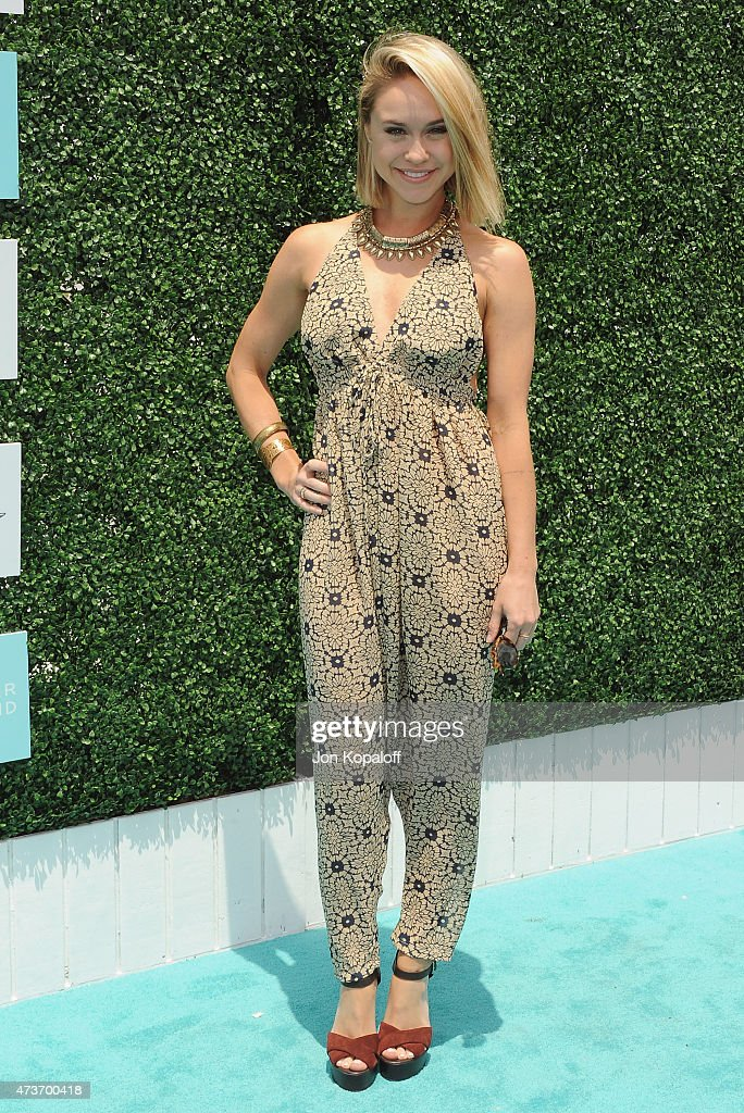 Actress Becca Tobin arrives at the Ovarian Cancer Research Fund's 2nd Annual Super Saturday LA at Barker Hangar on May 16 2015 in Santa Monica...