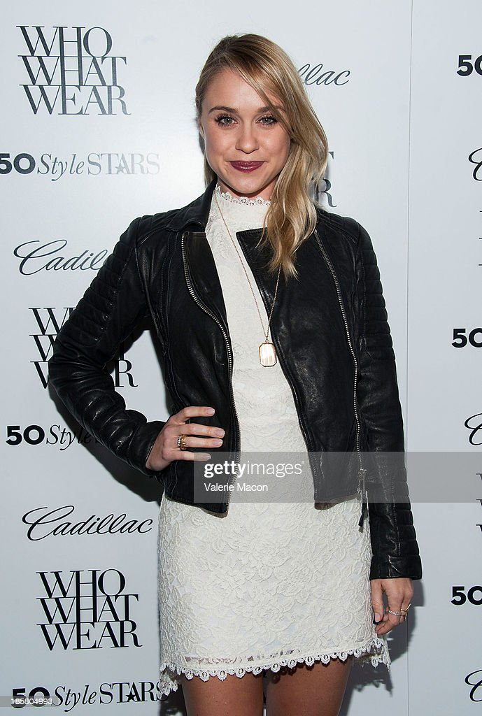 Actress <a gi-track='captionPersonalityLinkClicked' href=/galleries/search?phrase=Becca+Tobin&family=editorial&specificpeople=5391184 ng-click='$event.stopPropagation()'>Becca Tobin</a> arrives at the Who What Wear And Cadillac's 50 Most Fashionable Women Of 2013 Event at The London Hotel on October 24, 2013 in West Hollywood, California.