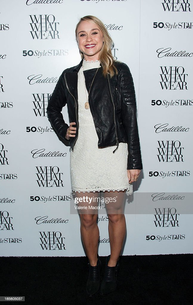 Actress Becca Tobin arrives at the Who What Wear And Cadillac's 50 Most Fashionable Women Of 2013 Event at The London Hotel on October 24, 2013 in West Hollywood, California.