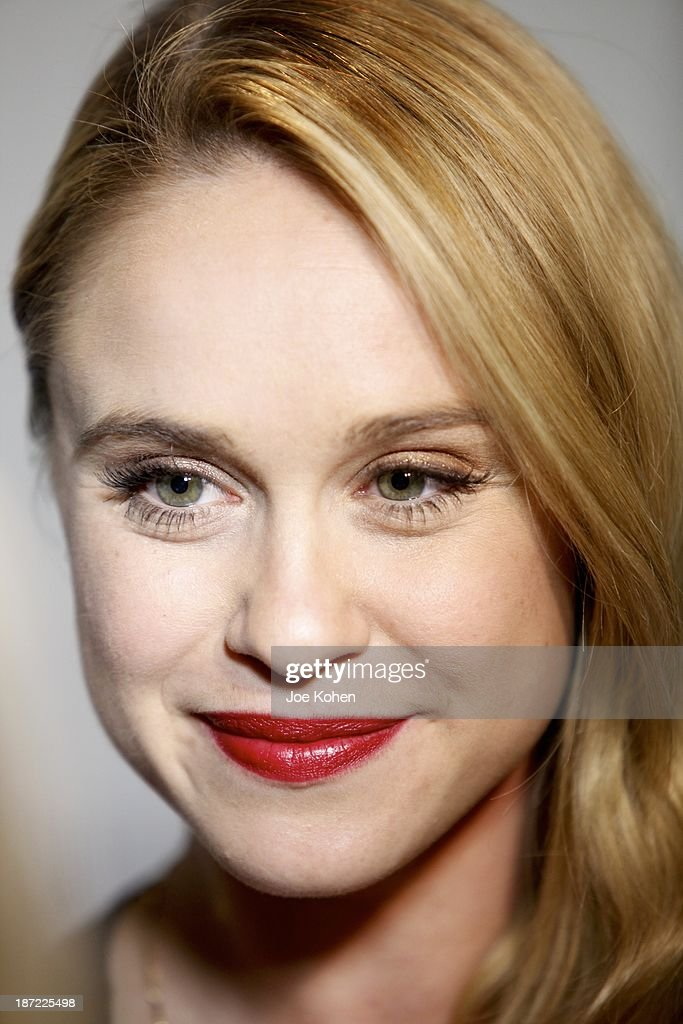Actress <a gi-track='captionPersonalityLinkClicked' href=/galleries/search?phrase=Becca+Tobin&family=editorial&specificpeople=5391184 ng-click='$event.stopPropagation()'>Becca Tobin</a> attends Blue Jeans go green celebrates 1 Million pieces of denim collected for recycling hosted by Miles Teller at SkyBar at the Mondrian Los Angeles on November 6, 2013 in West Hollywood, California.