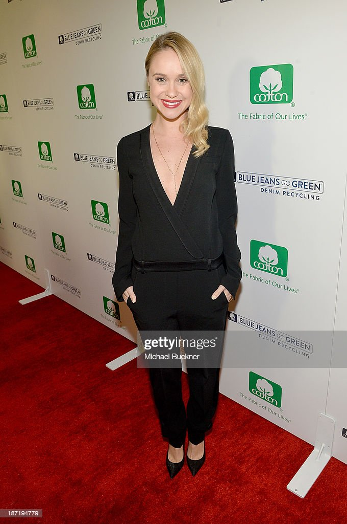 Actress <a gi-track='captionPersonalityLinkClicked' href=/galleries/search?phrase=Becca+Tobin&family=editorial&specificpeople=5391184 ng-click='$event.stopPropagation()'>Becca Tobin</a> attends Cotton Incorporated's Blue Jeans Go Green celebrates 1 million pieces of denim collected for recycling at SkyBar at the Mondrian Los Angeles on November 6, 2013 in West Hollywood, California.
