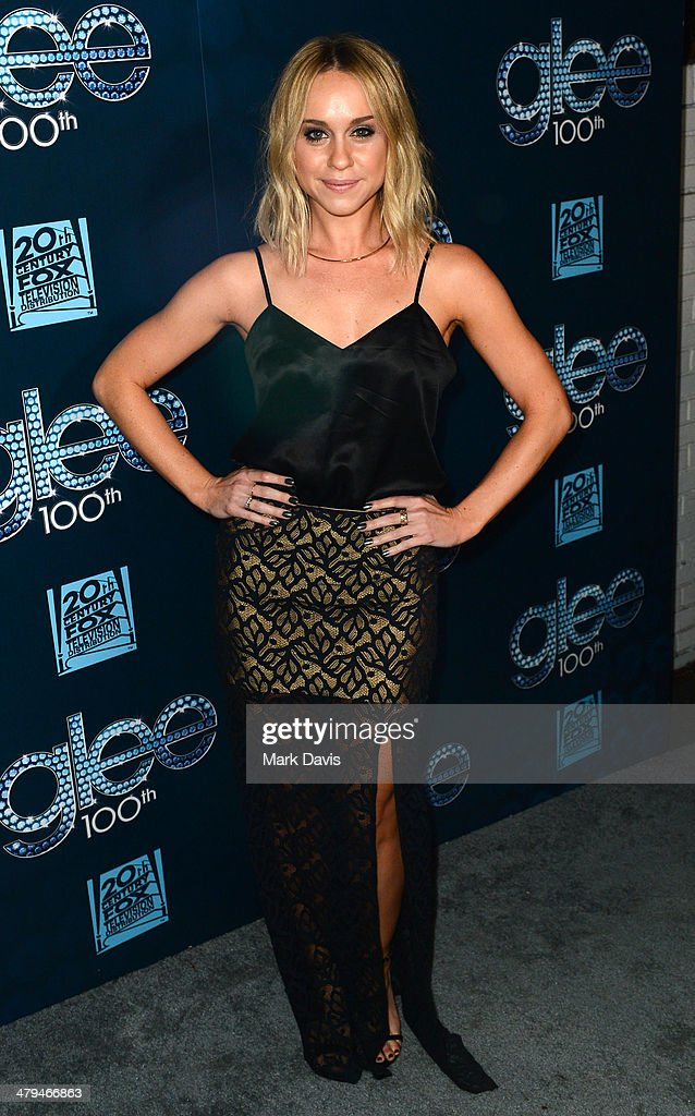 Actress Becca Tobin attends Fox's 'GLEE' 100th Episode Celebration held at Chateau Marmont on March 18 2014 in Los Angeles California