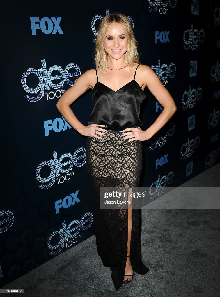 Actress Becca Tobin attends the 'Glee' 100th episode celebration at Chateau Marmont on March 18 2014 in Los Angeles California
