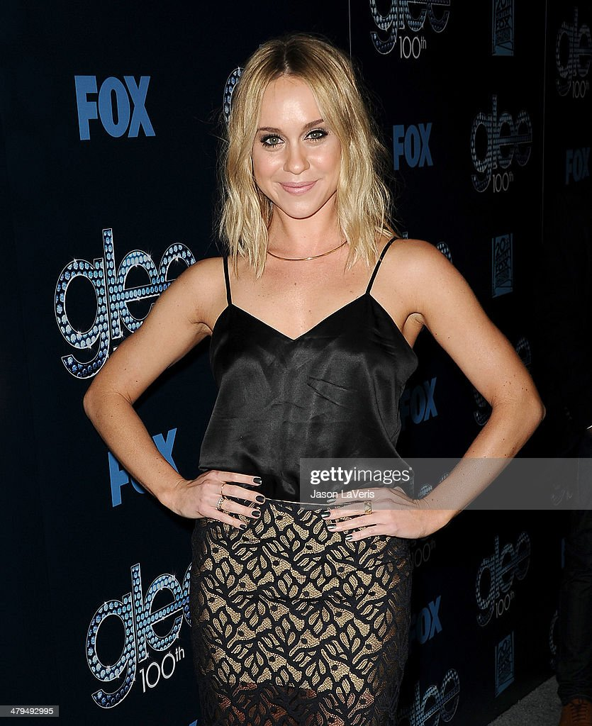 Actress <a gi-track='captionPersonalityLinkClicked' href=/galleries/search?phrase=Becca+Tobin&family=editorial&specificpeople=5391184 ng-click='$event.stopPropagation()'>Becca Tobin</a> attends the 'Glee' 100th episode celebration at Chateau Marmont on March 18, 2014 in Los Angeles, California.