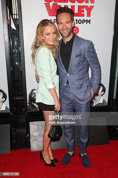 Actress Becki Newton and actor Chris Diamantopoulos attend the premiere of HBO's 'Silicon Valley' 2nd season at the El Capitan Theatre on April 2...