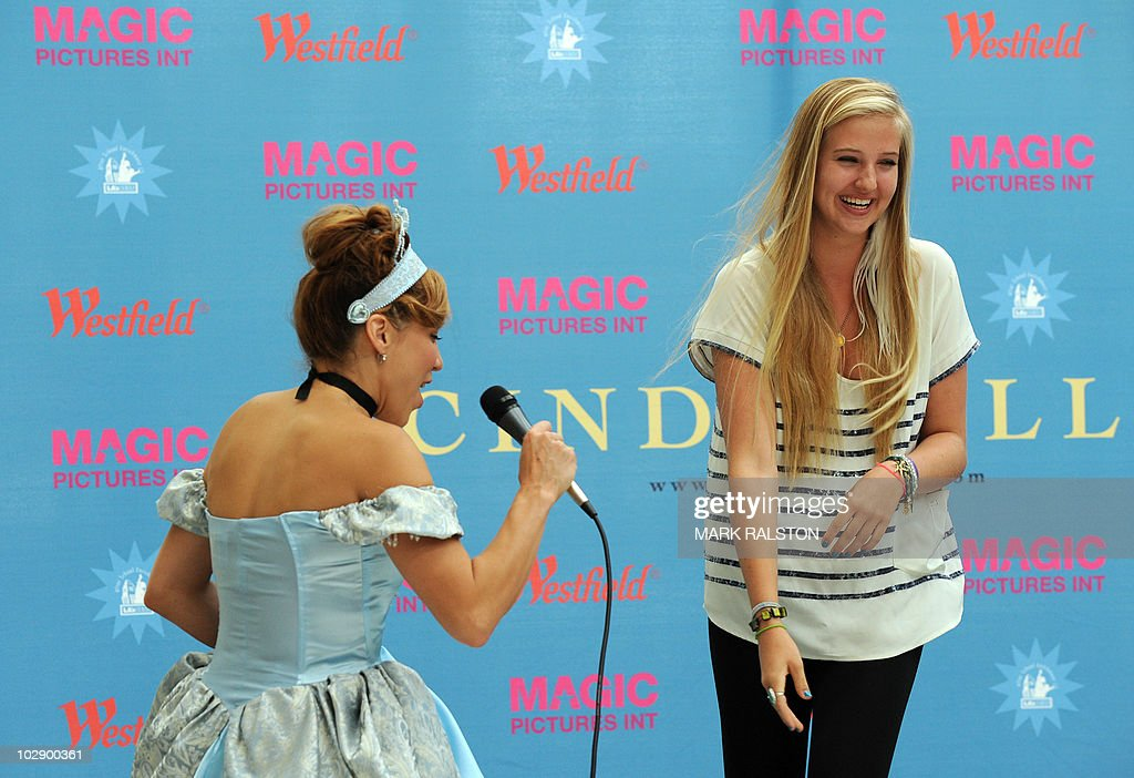 Actress Becky Baeling (L) introduces hopeful Veronica Dunne - 16, during the talent search for the next 'Cinderella' at Culver City in Los Angeles on July 14, 2010. The winner of the search will appear as the lead in 'Cínderella, A Modern Magical Musical Extravaganza' that will be produced by Nigel, Bonnie, and Kris Lythgoe, who also produce 'So You Think You Can Dance', 'Dancing With The Stars' and 'American Idol'. AFP PHOTO/Mark RALSTON