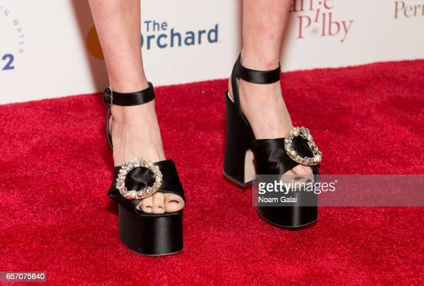 Actress Bel Powley shoe detail attends the 'Carrie Pilby' New York screening at Landmark Sunshine Cinema on March 23 2017 in New York City