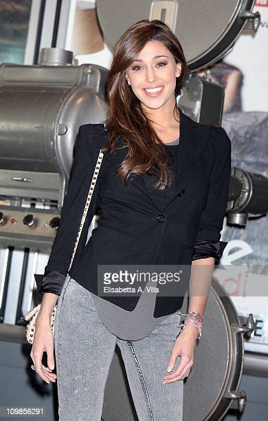 Actress Belen Rodriguez attends 'Il Commissario Montalbano' photocall at the Adriano Cinema on March 8 2011 in Rome Italy