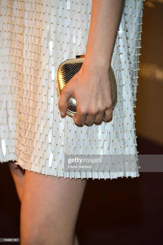 Actress Bella Heathcote (fashion detail) arrives at LACMA 2012 Art + Film Gala Honoring Ed Ruscha and Stanley Kubrick presented by Gucci at LACMA on October 27, 2012 in Los Angeles, California.