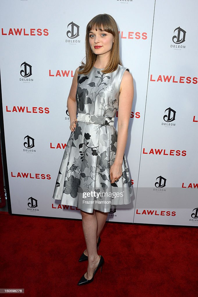 Actress Bella Heathcote arrives at the Premiere of the Weinstein Company's 'Lawless' at ArcLight Cinemas on August 22, 2012 in Hollywood, California.
