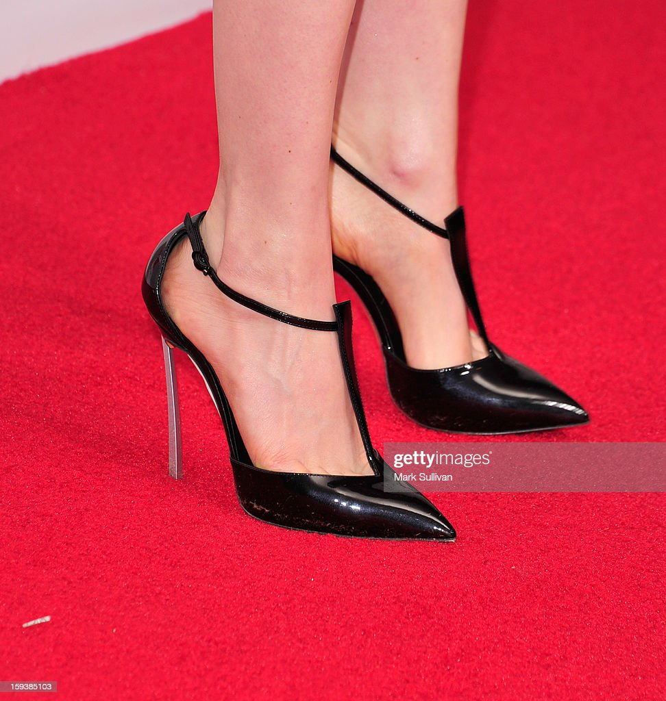 Actress Bella Heathcote (shoe detail) at the G'Day USA Black Tie Gala held at at the JW Marriot at LA Live on January 12, 2013 in Los Angeles, California.