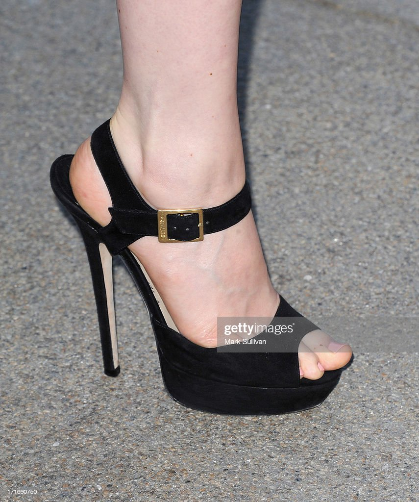 Actress Bella Heathcote (shoe detail) at the opening of 'Helmut Newton: White Women - Sleepless Nights - Big Nudes' at at Annenberg Space For Photography on June 27, 2013 in Century City, California.