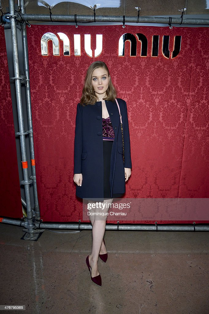 Actress <a gi-track='captionPersonalityLinkClicked' href=/galleries/search?phrase=Bella+Heathcote&family=editorial&specificpeople=6890694 ng-click='$event.stopPropagation()'>Bella Heathcote</a> attends the Miu Miu show as part of the Paris Fashion Week Womenswear Fall/Winter 2014-2015 on March 5, 2014 in Paris, France.