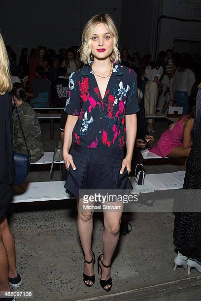 Actress Bella Heathcote attends the Thakoon fashion show during Spring 2016 New York Fashion Week at SIR Stage37 on September 13 2015 in New York City