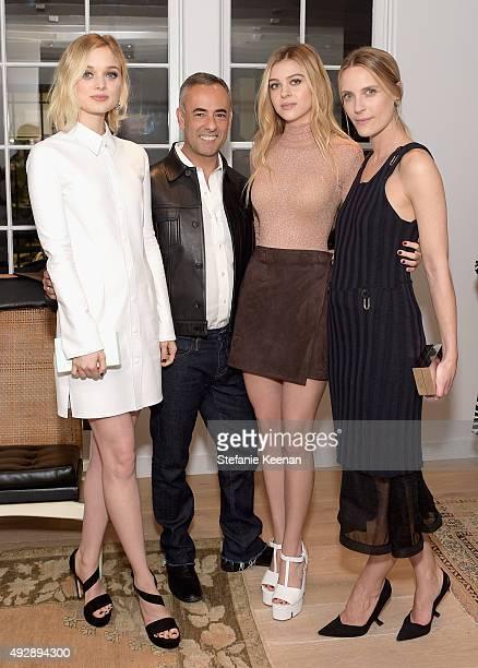 Actress Bella Heathcote designer Francisco Costa actress Nicola Peltz and Executive Creative Director The Line Vanessa Traina attend The Apartment by...