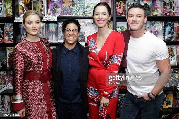 Actress Bella Heathcote director Angela Robinson actress Rebecca Hall and actor Luke Evans attend the Professor Marston and the Wonder Women meet and...