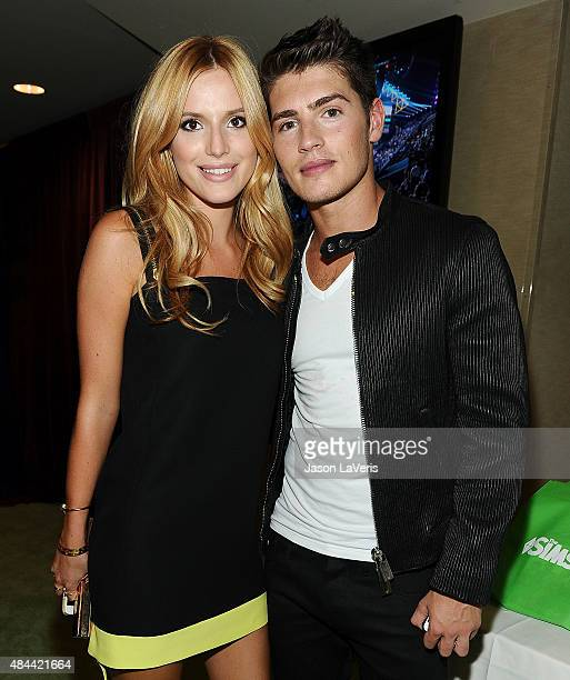Actress Bella Thorne and actor Gregg Sulkin pose in the green room at the 2015 Teen Choice Awards at Galen Center on August 16 2015 in Los Angeles...