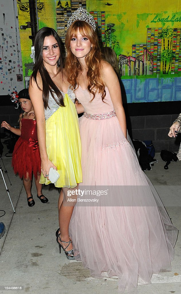 Actress <a gi-track='captionPersonalityLinkClicked' href=/galleries/search?phrase=Bella+Thorne&family=editorial&specificpeople=5083663 ng-click='$event.stopPropagation()'>Bella Thorne</a> (L) and actress Savannah Lathem attend <a gi-track='captionPersonalityLinkClicked' href=/galleries/search?phrase=Bella+Thorne&family=editorial&specificpeople=5083663 ng-click='$event.stopPropagation()'>Bella Thorne</a>'s Quinceanera in honor of her 15th Birthday presented by Hallmark Gold Crown and Text Bands on October 20, 2012 in Hollywood, California.