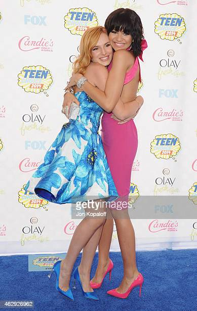 Actress Bella Thorne and actress Zendaya arrive at the 2014 Teen Choice Awards at The Shrine Auditorium on August 10 2014 in Los Angeles California