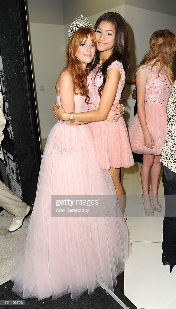 Actress Bella Thorne (L) and actress/singer Zendaya attend Bella Thorne's Quinceanera in honor of her 15th Birthday presented by Hallmark Gold Crown and Text Bands on October 20, 2012 in Hollywood, California.