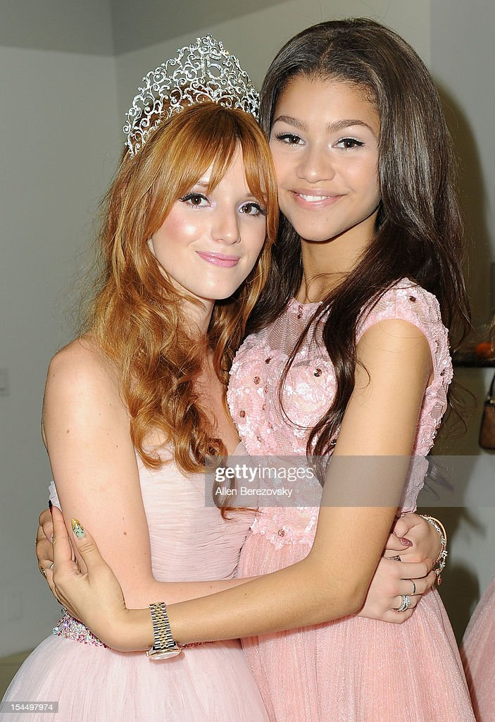 Actress <a gi-track='captionPersonalityLinkClicked' href=/galleries/search?phrase=Bella+Thorne&family=editorial&specificpeople=5083663 ng-click='$event.stopPropagation()'>Bella Thorne</a> (L) and actress/singer Zendaya attend <a gi-track='captionPersonalityLinkClicked' href=/galleries/search?phrase=Bella+Thorne&family=editorial&specificpeople=5083663 ng-click='$event.stopPropagation()'>Bella Thorne</a>'s Quinceanera in honor of her 15th Birthday presented by Hallmark Gold Crown and Text Bands on October 20, 2012 in Hollywood, California.
