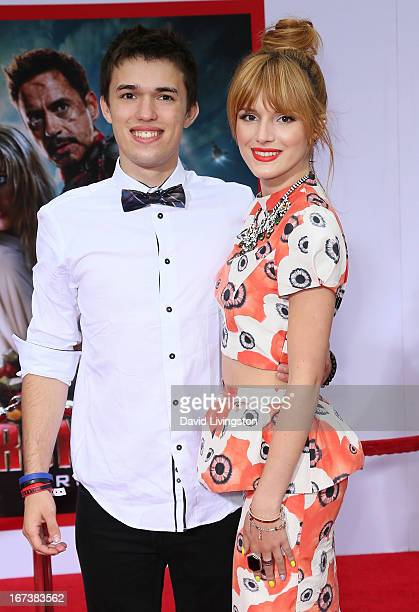 Actress Bella Thorne and brother Remy Thorne attend the premiere of Walt Disney Pictures' 'Iron Man 3' at the El Capitan Theatre on April 24 2013 in...