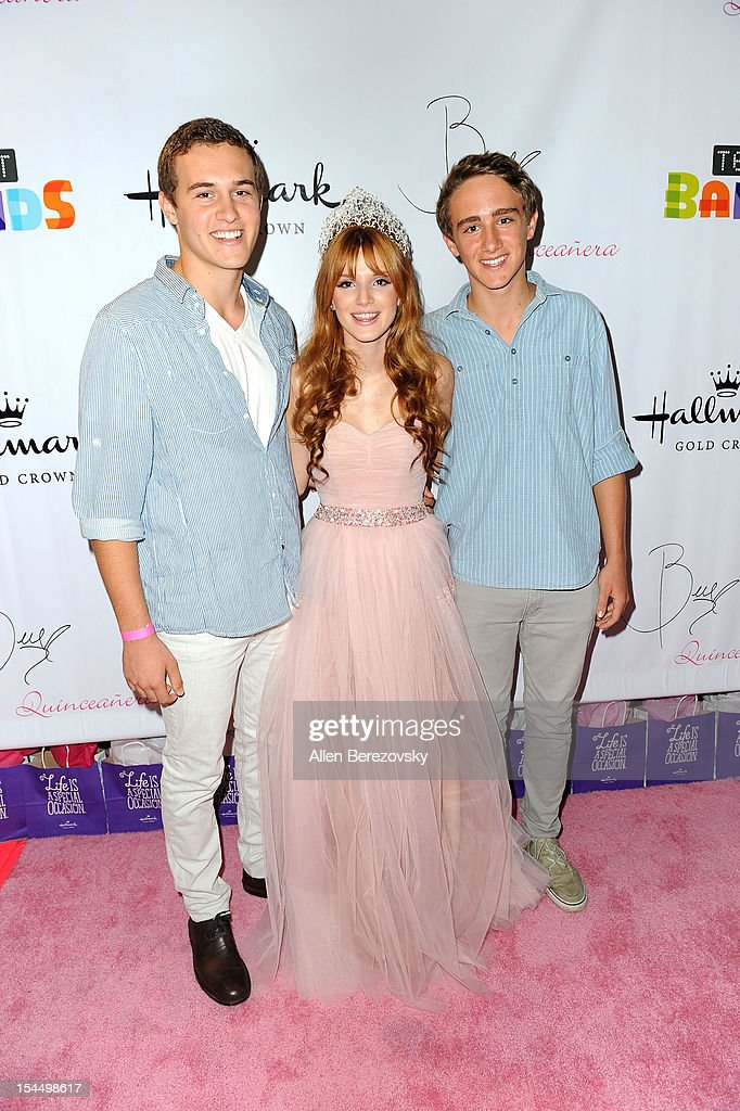 Actress <a gi-track='captionPersonalityLinkClicked' href=/galleries/search?phrase=Bella+Thorne&family=editorial&specificpeople=5083663 ng-click='$event.stopPropagation()'>Bella Thorne</a> (C) and guests attend <a gi-track='captionPersonalityLinkClicked' href=/galleries/search?phrase=Bella+Thorne&family=editorial&specificpeople=5083663 ng-click='$event.stopPropagation()'>Bella Thorne</a>'s Quinceanera in honor of her 15th Birthday presented by Hallmark Gold Crown and Text Bands on October 20, 2012 in Hollywood, California.