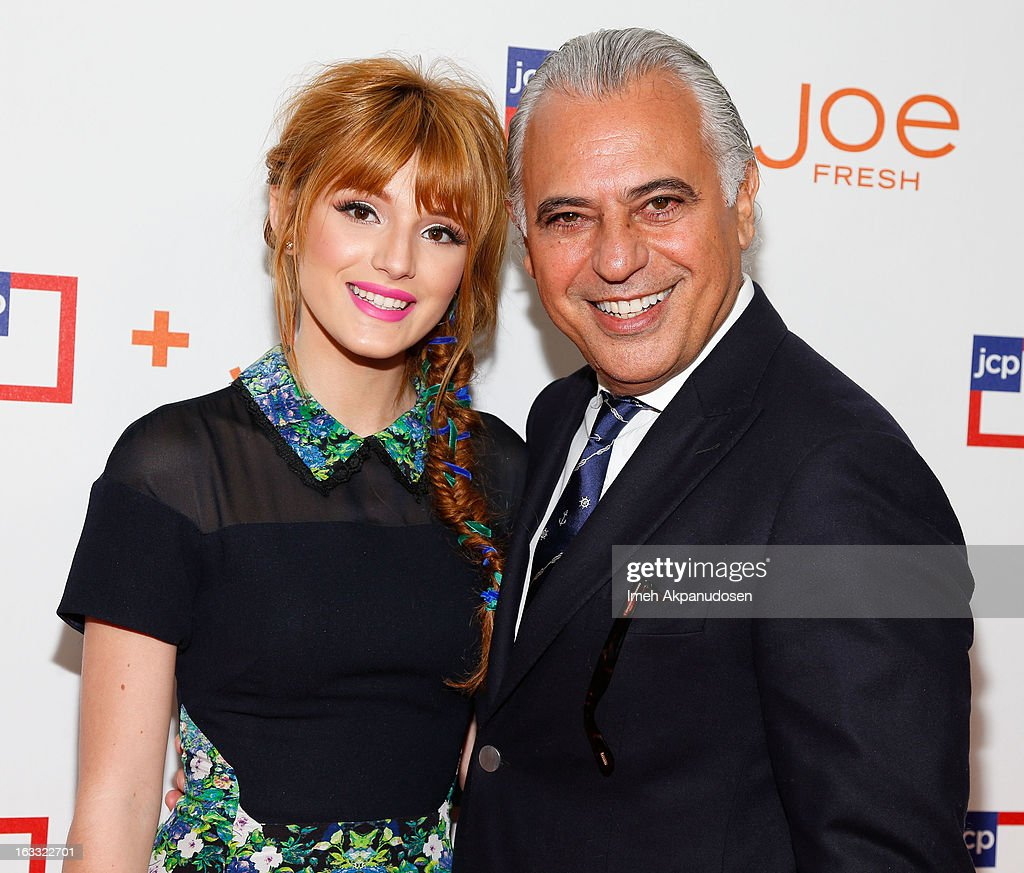 Actress <a gi-track='captionPersonalityLinkClicked' href=/galleries/search?phrase=Bella+Thorne&family=editorial&specificpeople=5083663 ng-click='$event.stopPropagation()'>Bella Thorne</a> (L) and Joe Fresh Creative Director Joe Mimran attend the Joe Fresh at jcp Pop Up event on March 7, 2013 in Los Angeles, California.