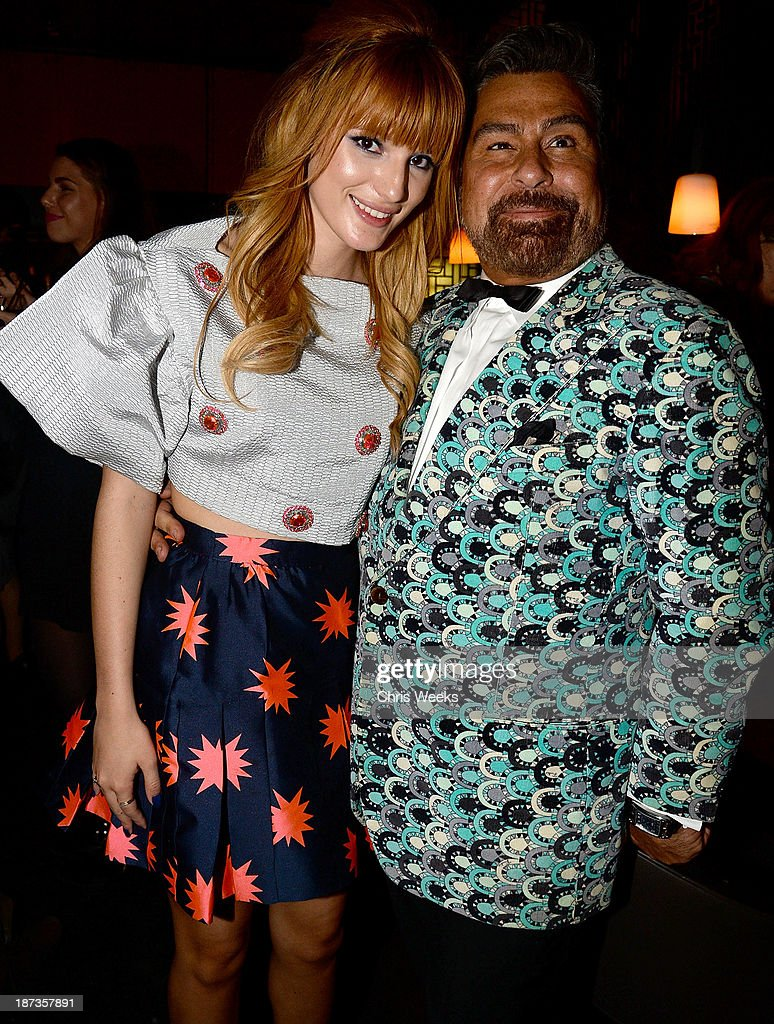 Actress <a gi-track='captionPersonalityLinkClicked' href=/galleries/search?phrase=Bella+Thorne&family=editorial&specificpeople=5083663 ng-click='$event.stopPropagation()'>Bella Thorne</a> and Luis Barajas of Flaunt attend the Flaunt Magazine November issue party at Hakkasan on November 7, 2013 in Beverly Hills, California.