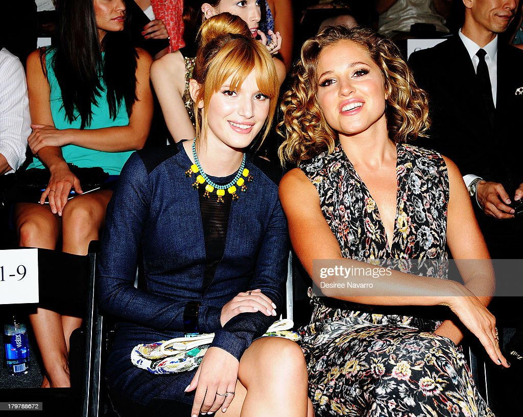 Actress <a gi-track='captionPersonalityLinkClicked' href=/galleries/search?phrase=Bella+Thorne&family=editorial&specificpeople=5083663 ng-click='$event.stopPropagation()'>Bella Thorne</a> and <a gi-track='captionPersonalityLinkClicked' href=/galleries/search?phrase=Margarita+Levieva&family=editorial&specificpeople=630349 ng-click='$event.stopPropagation()'>Margarita Levieva</a> attend the Nicole Miller show during Spring 2014 Mercedes-Benz Fashion Week at The Studio at Lincoln Center on September 6, 2013 in New York City.