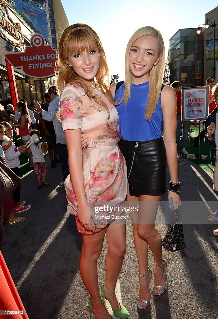 """Actress Bella Thorne and Peyton List attend the world-premiere of """"Disney's Planes"""" presented by Target at the El Capitan Theatre on August 5, 2013 in Hollywood, California."""