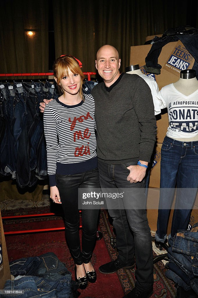 Actress Bella Thorne and Senior Vice President of Marketing & E-Commerce of Aeropostale Scott Birnbaum attend the DoSomething.org and Aeropostale launch of the 6th annual 'Teens For Jeans' hosted by Chloe Moretz at Palihouse on January 8, 2013 in West Hollywood, California.