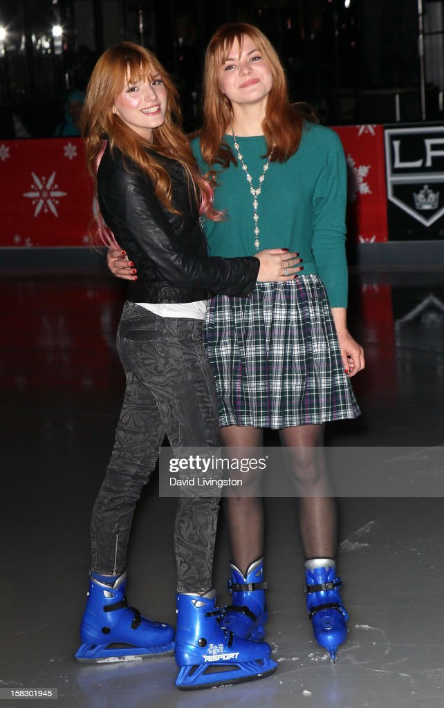 Actress Bella Thorne (L) and sister actress Kaili Thorne attend the opening night of Disney On Ice's 'Dare To Dream' at LA Kings Holiday Ice at L.A. LIVE on December 12, 2012 in Los Angeles, California.