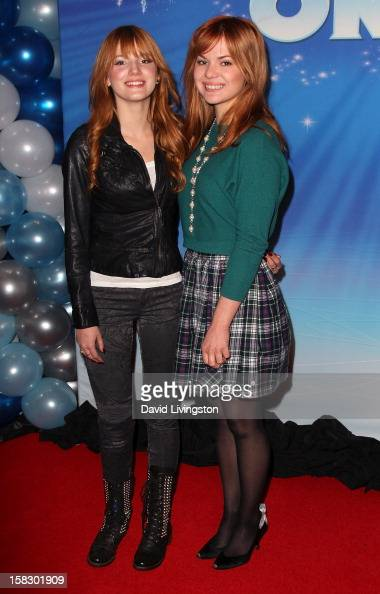 Actress Bella Thorne and sister Kaili Thorne attend the opening night of Disney On Ice's 'Dare To Dream' at LA Kings Holiday Ice at LA LIVE on...