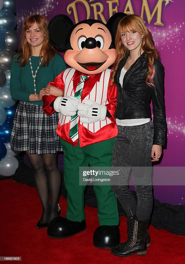 Actress Bella Thorne (R) and sister Kaili Thorne attend the opening night of Disney On Ice's 'Dare To Dream' at LA Kings Holiday Ice at L.A. LIVE on December 12, 2012 in Los Angeles, California.
