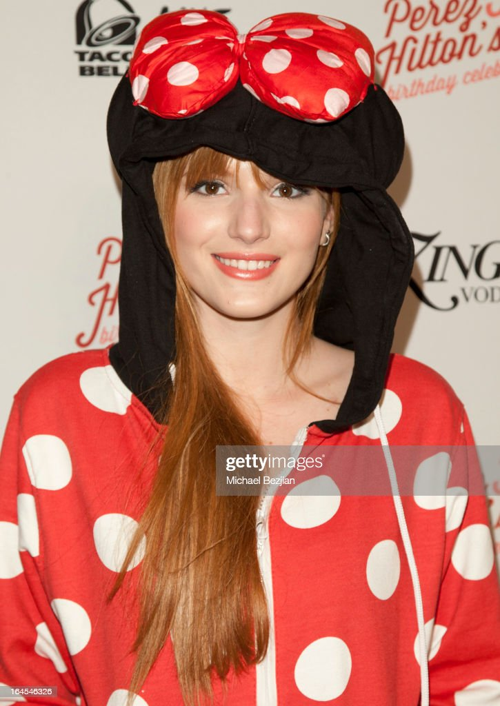 Actress <a gi-track='captionPersonalityLinkClicked' href=/galleries/search?phrase=Bella+Thorne&family=editorial&specificpeople=5083663 ng-click='$event.stopPropagation()'>Bella Thorne</a> arrives at Perez Hilton's 35th Birthday Party Extravaganza - Arrivals at El Rey Theatre on March 23, 2013 in Los Angeles, California.
